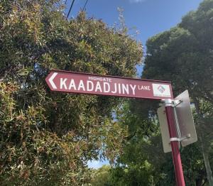 kaadadjiny noongar street sign